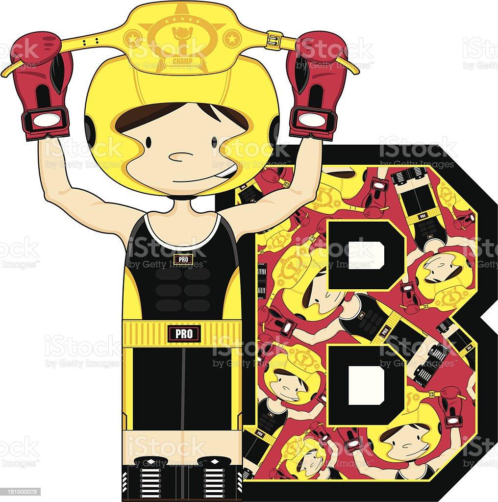 Boxer Alphabet Learning Letter B royalty-free stock vector art