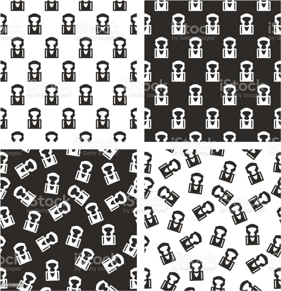 Boxer Avatar Aligned & Random Seamless Pattern Set vector art illustration