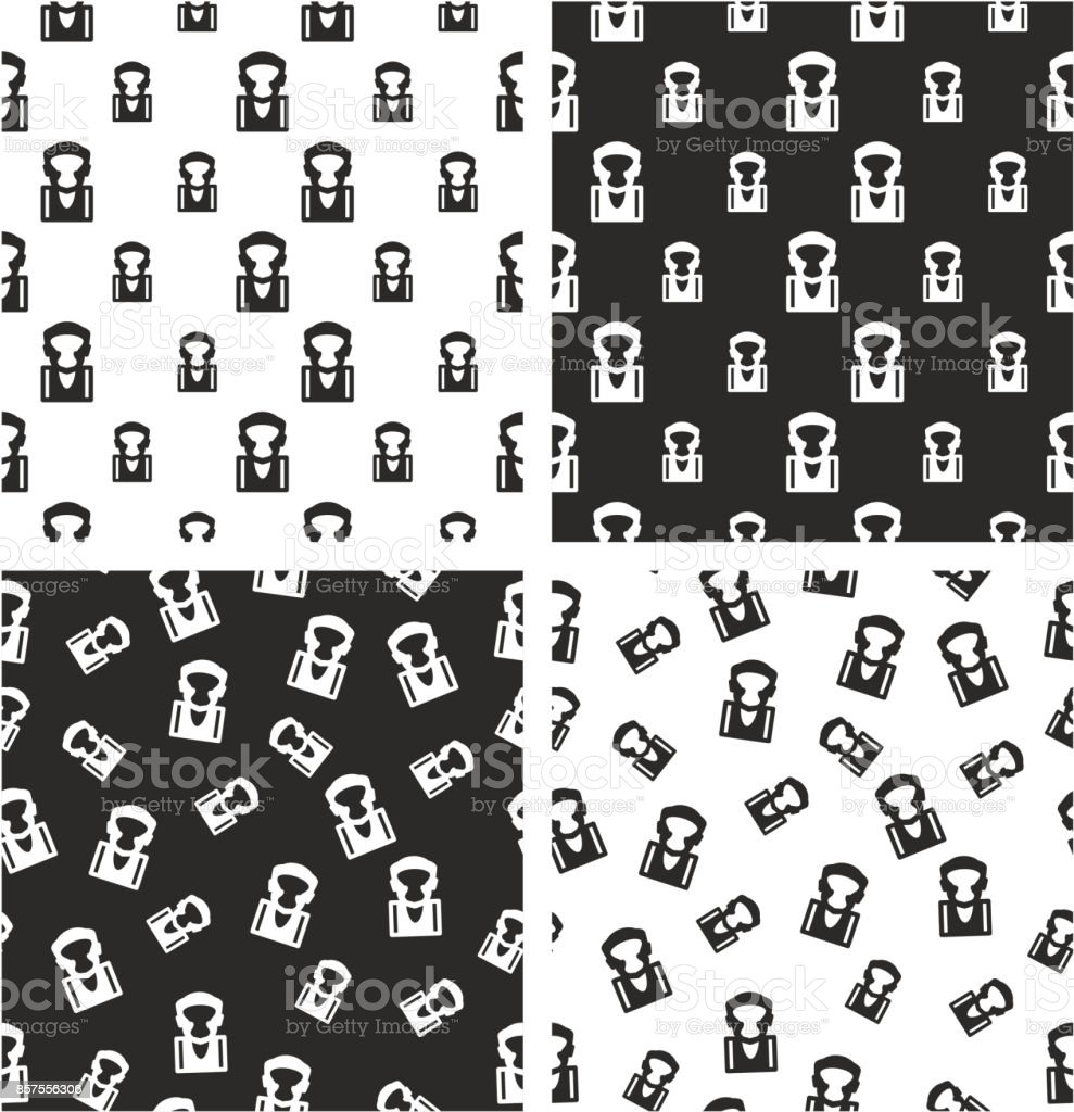 Boxer Avatar Big & Small Aligned & Random Seamless Pattern Set vector art illustration