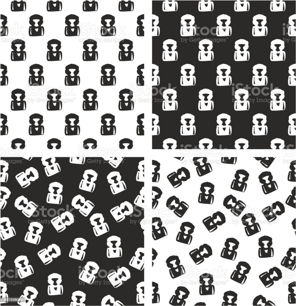 Boxer Avatar Freehand Aligned & Random Seamless Pattern Set vector art illustration