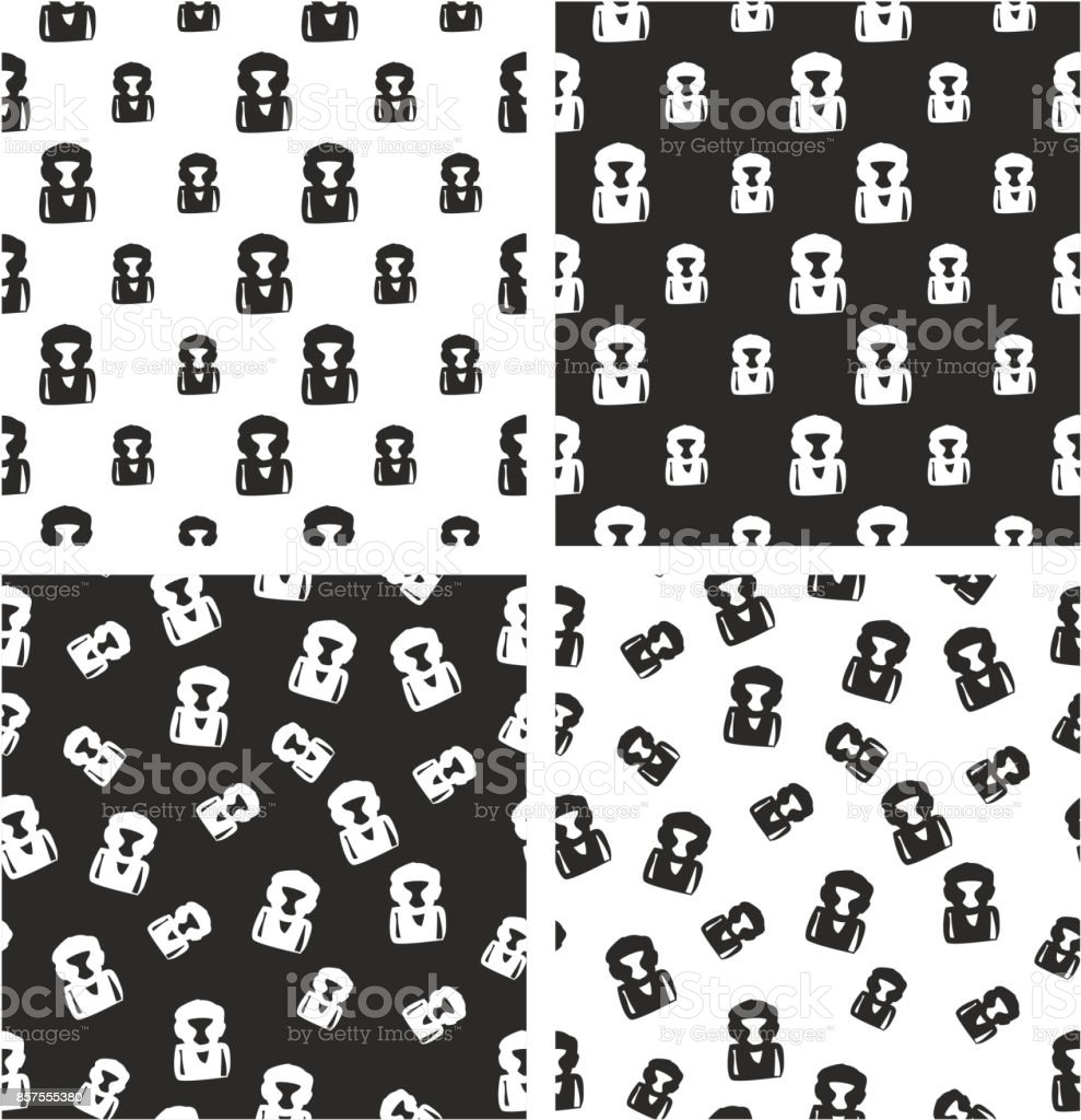 Boxer Avatar Freehand Big & Small Aligned & Random Seamless Pattern Set vector art illustration