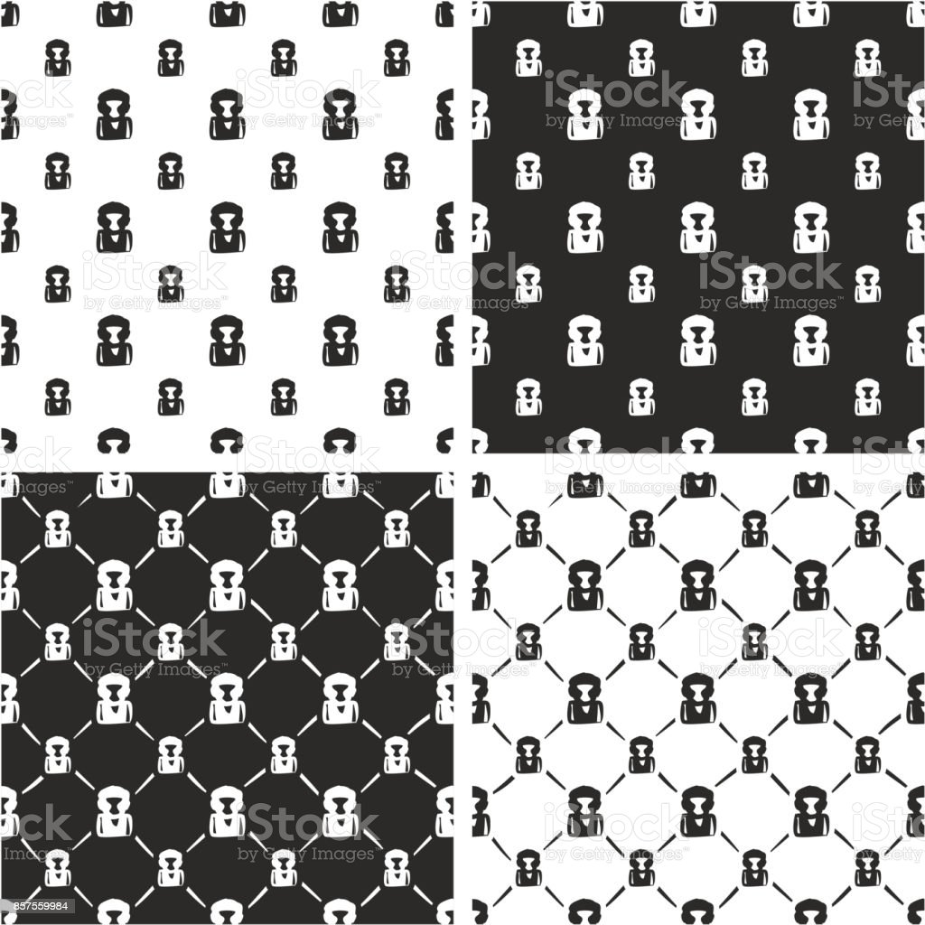 Boxer Avatar Freehand Big & Small Seamless Pattern Set vector art illustration