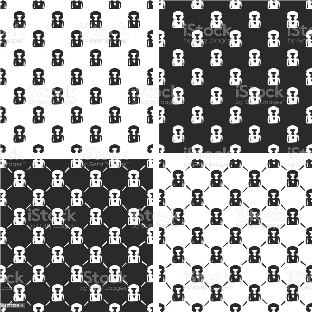 Boxer Avatar Freehand Seamless Pattern Set vector art illustration