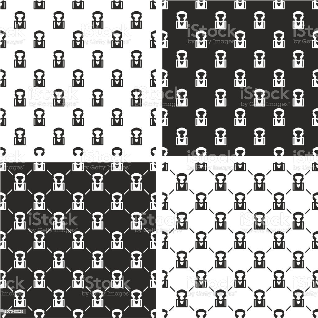 Boxer Avatar Seamless Pattern Set vector art illustration