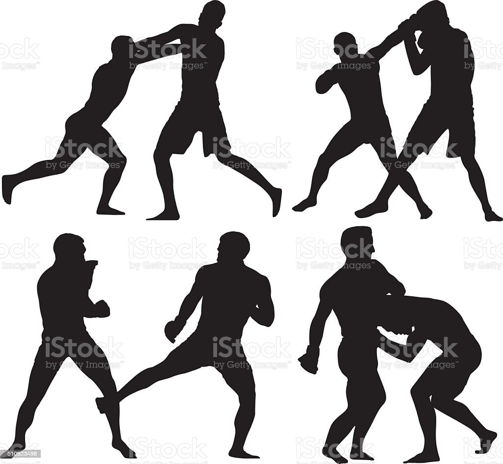 Boxer boxing vector art illustration