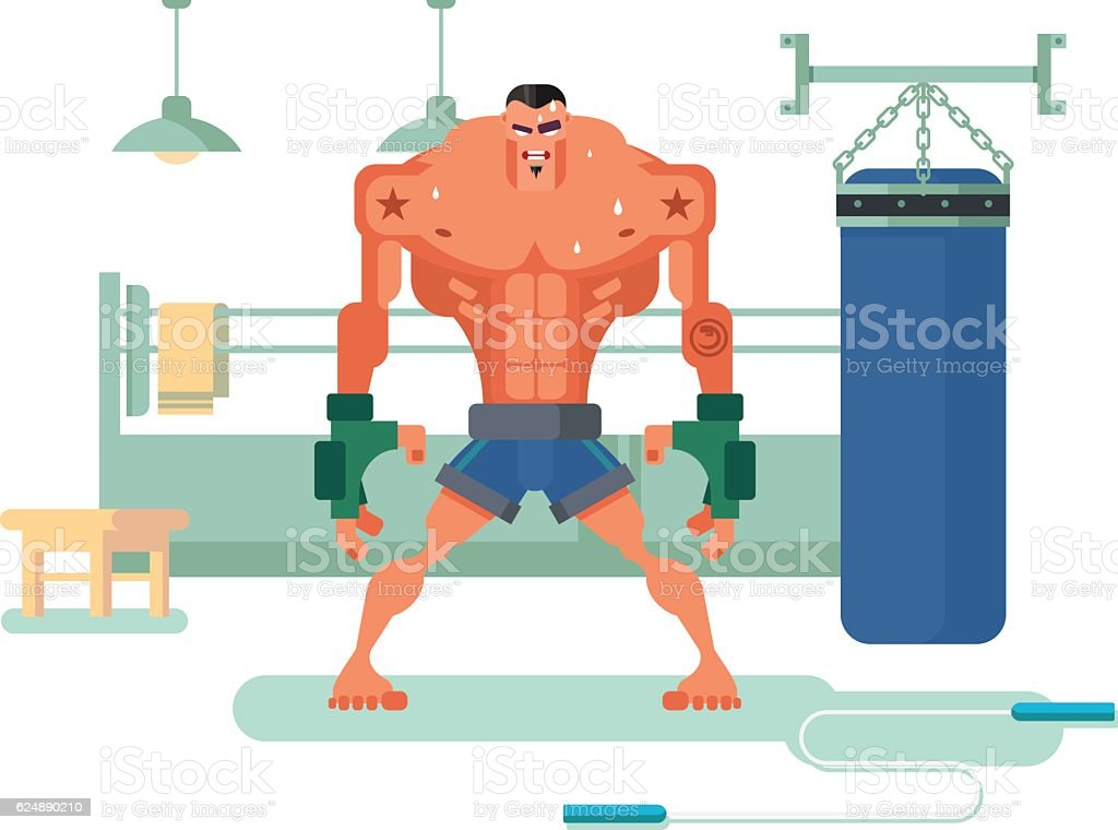 Boxer character in training vector art illustration