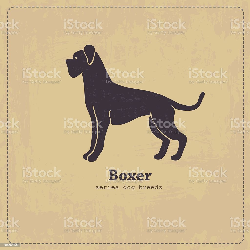 Boxer dog standing in profile stylized silhouette on shabby vintage...