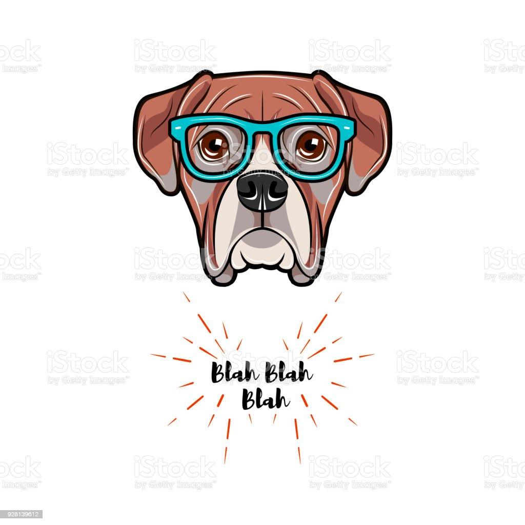 Boxer Dog Wearing In Glasses Boxer Geek Vector Illustration Stock ...