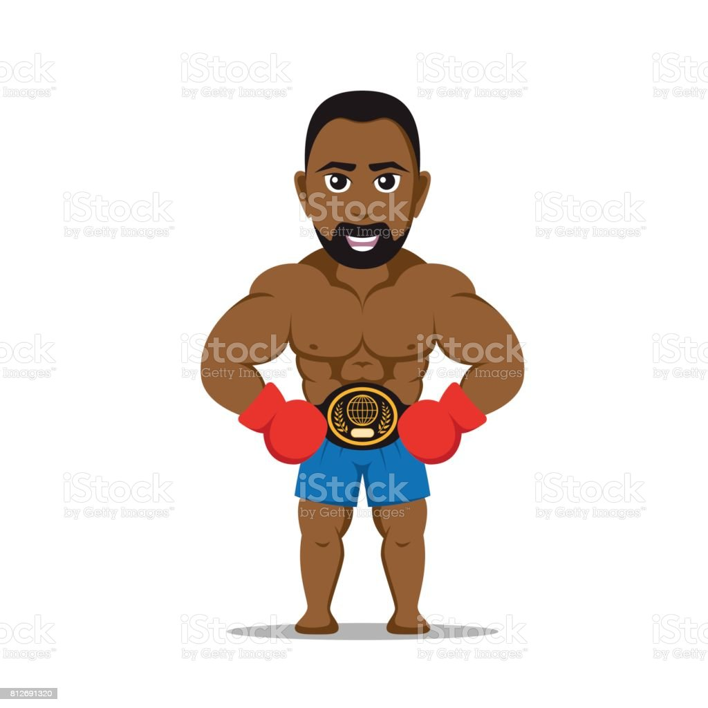 boxer fighter character vector art illustration