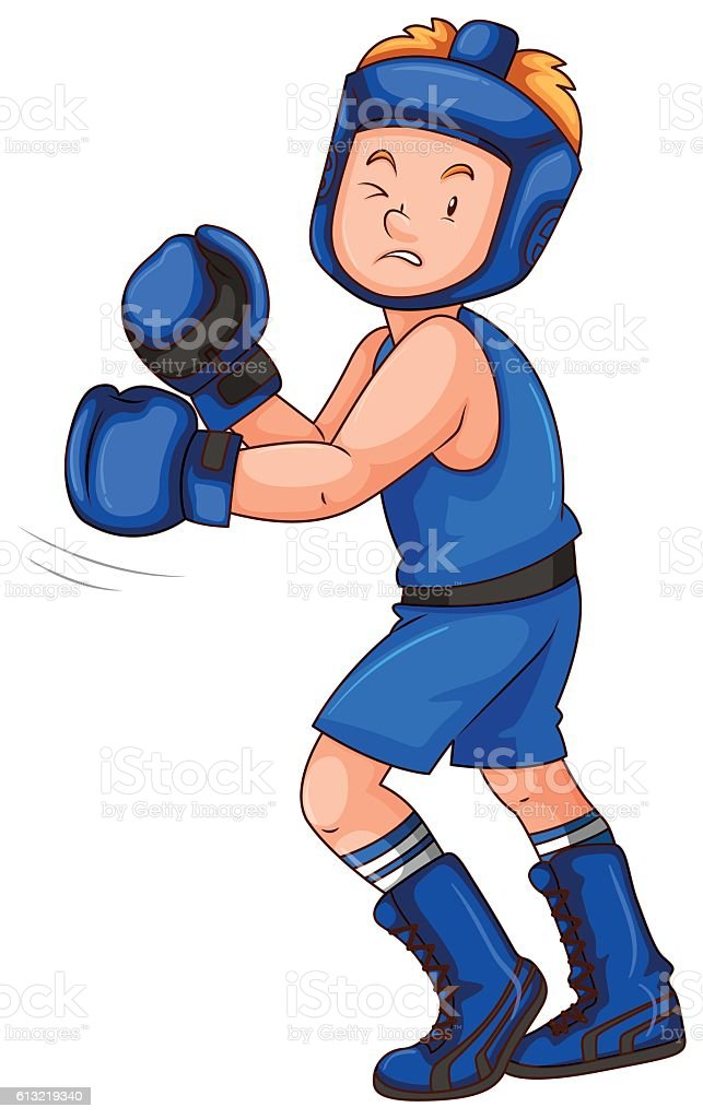 Boxer in blue costume with gloves and guard vector art illustration