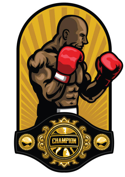 boxer pose with boxing champion belt vector art illustration