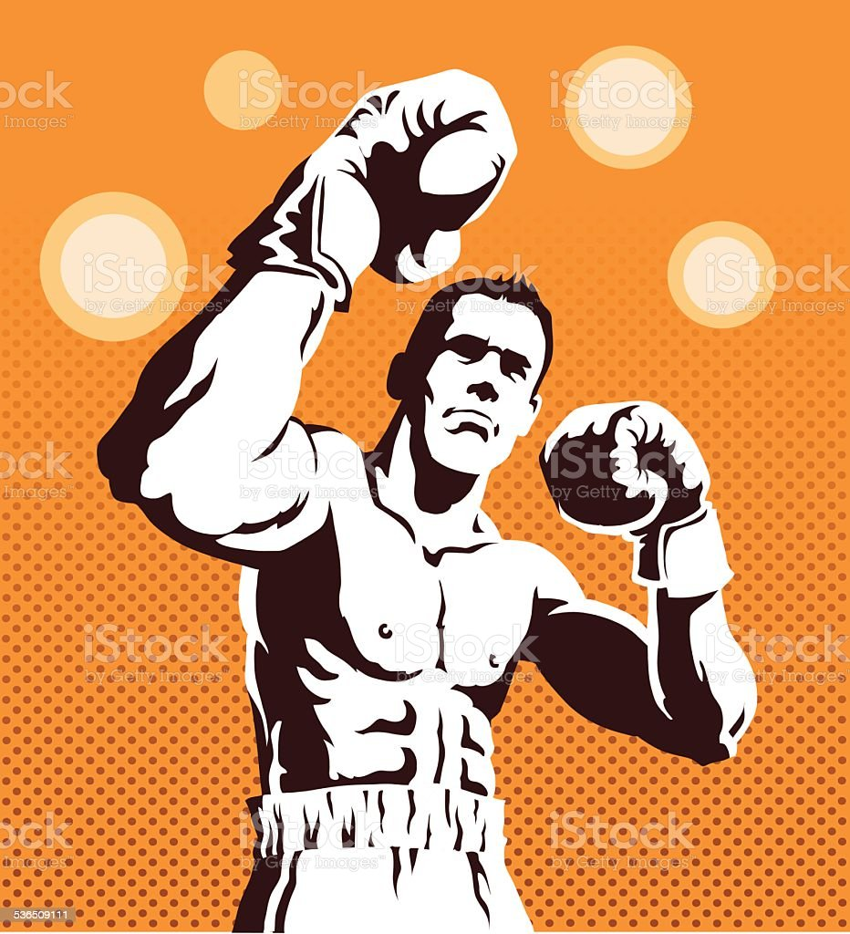 Boxer Posing on Orange Background vector art illustration
