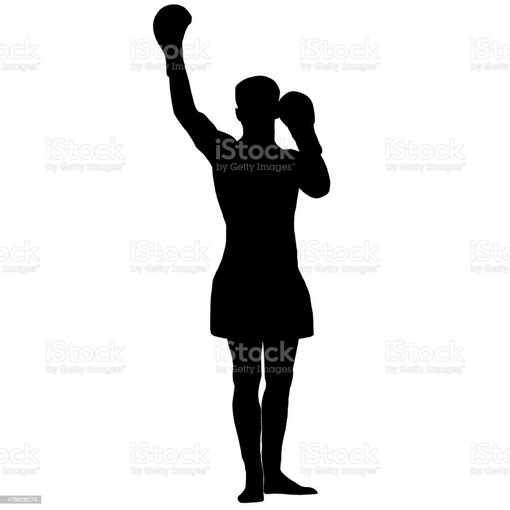 boxer raising his fist up