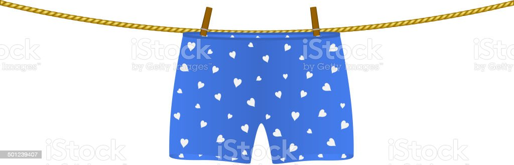 Boxer shorts with white hearts hanging on rope vector art illustration