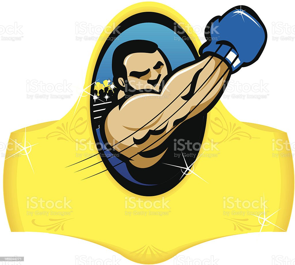 Boxer throwing an uppercut for a KO! vector art illustration