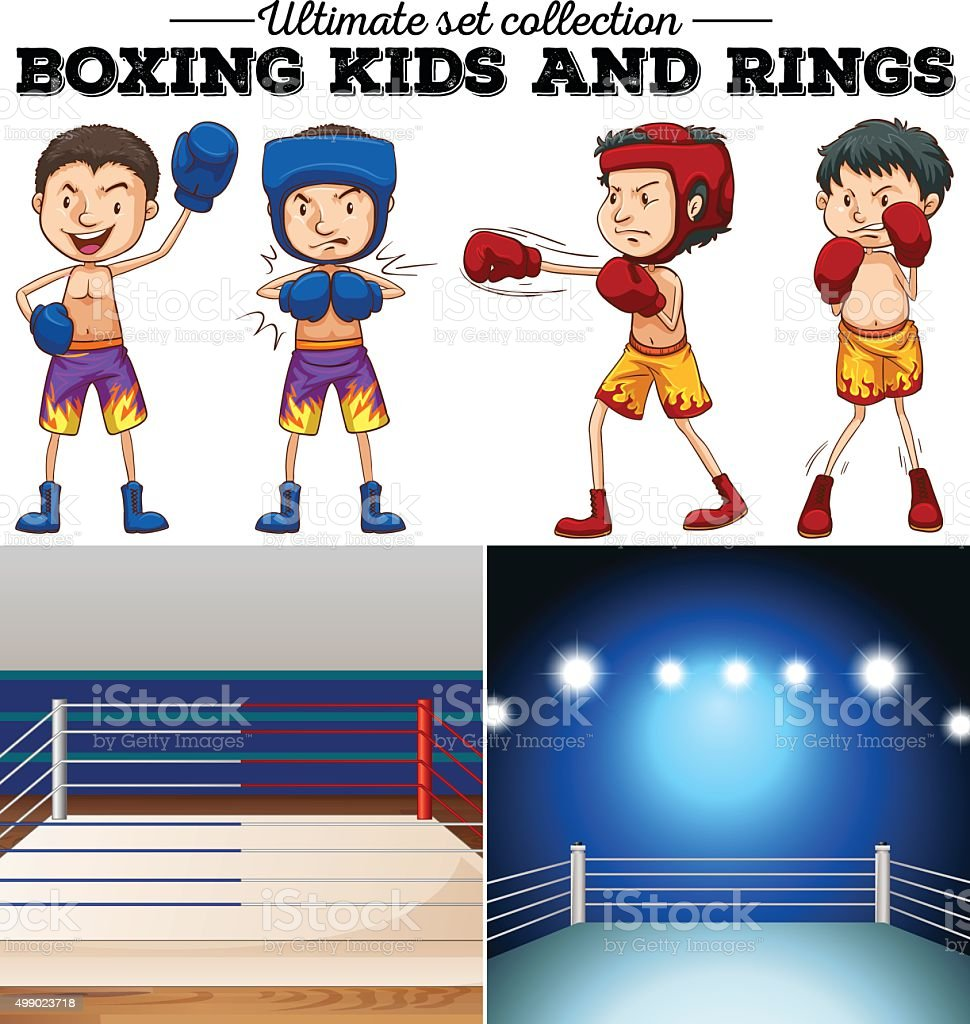 Boxers and ring  blue red vector art illustration