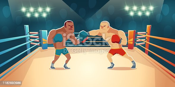 Boxers fighting on ring, opponents in blue and red shorts and gloves fight on arena with spotlights and ropes. Wrestling presentation match, competition. Dangerous sport. Cartoon vector illustration