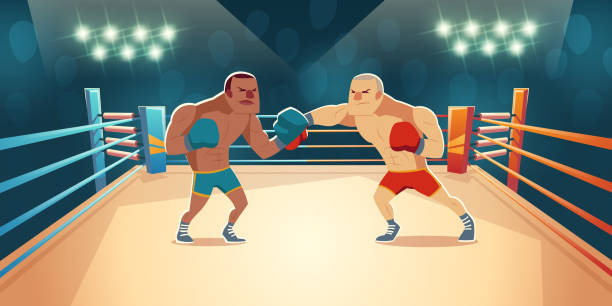 Boxer kämpfen auf Ring, Gegner Wrestling-Match – Vektorgrafik