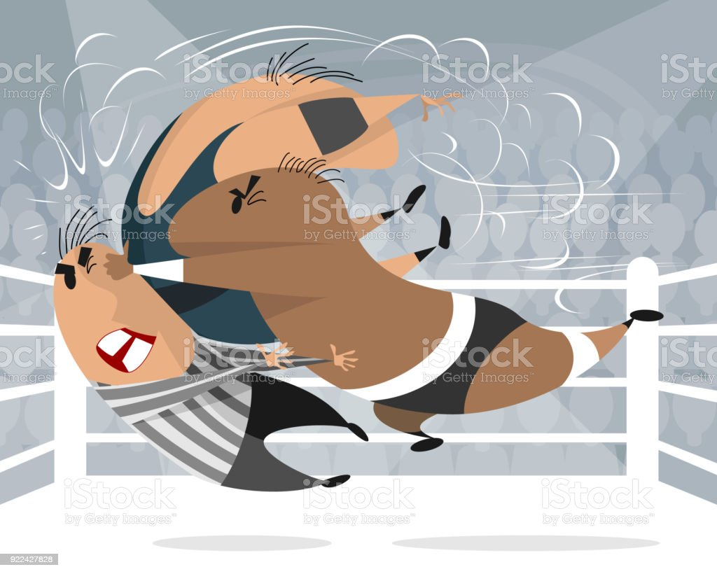 Boxers in the ring vector art illustration