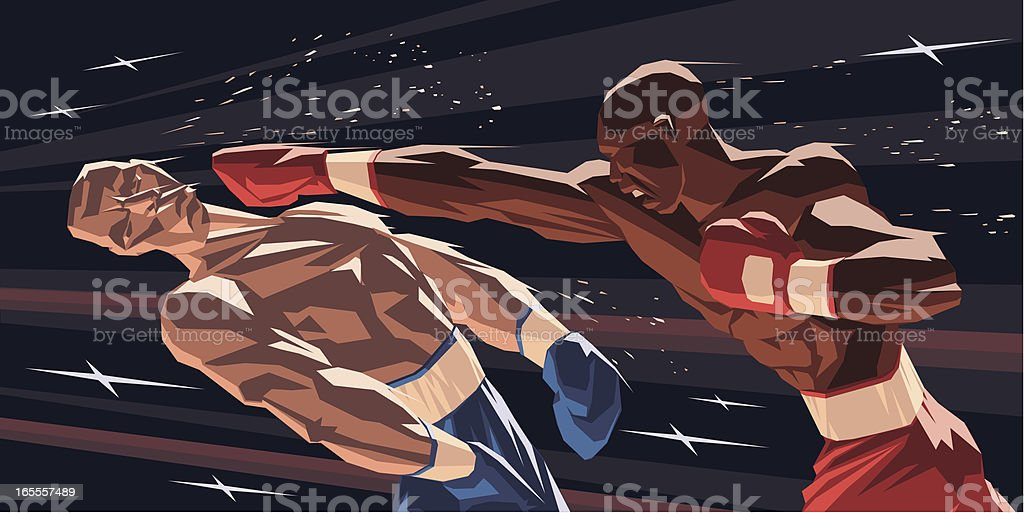 Boxers Knock-down vector art illustration