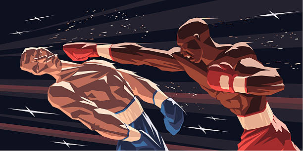 stockillustraties, clipart, cartoons en iconen met boxers knock-down - knock out