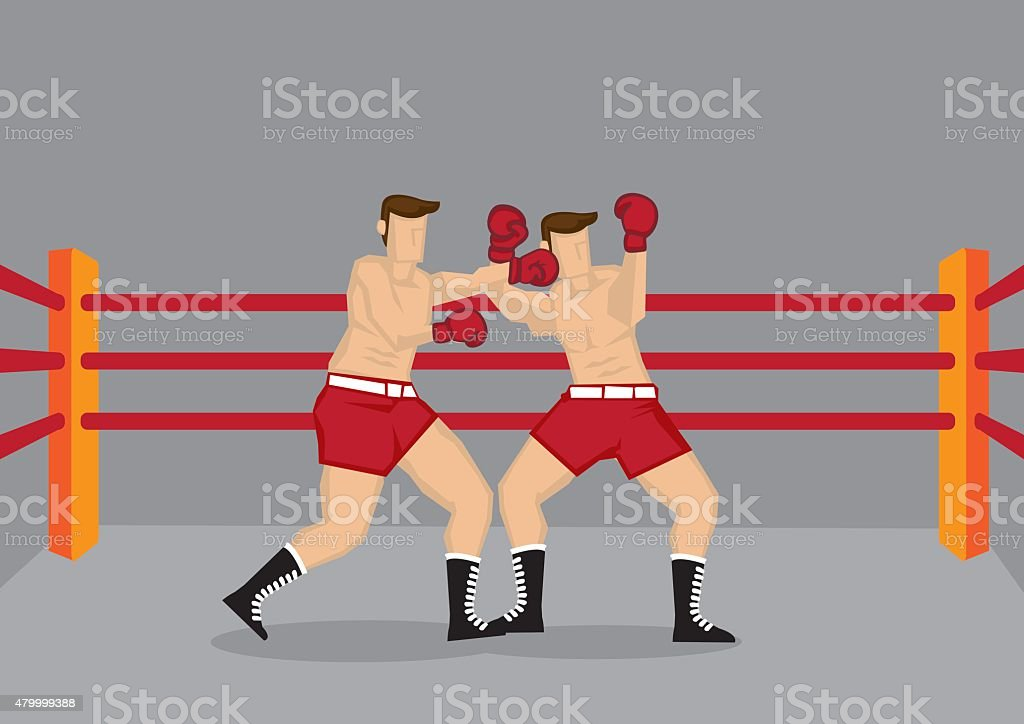 Boxers Punching in Boxing Ring Vector Illustration vector art illustration
