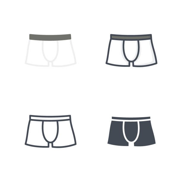 Bекторная иллюстрация Boxers underwear clothes icon vector flat colored line silhouette