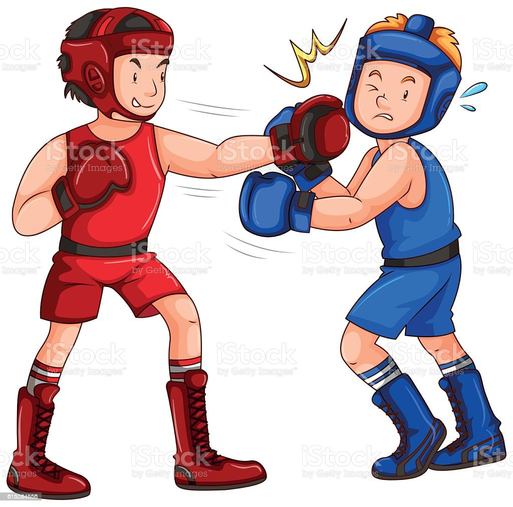 Boxers with headguard and gloves vector art illustration