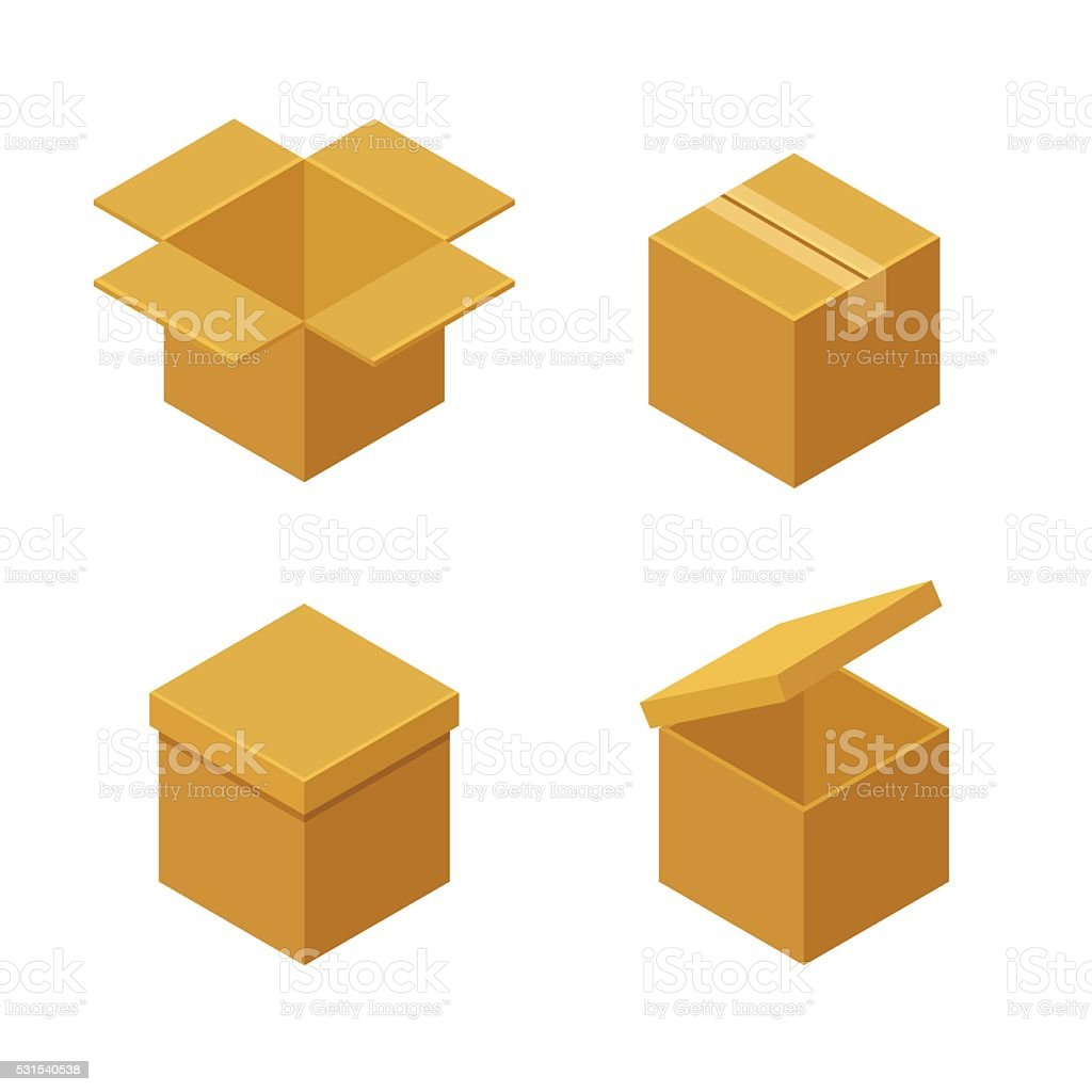 Boxes and packaging icons vector art illustration