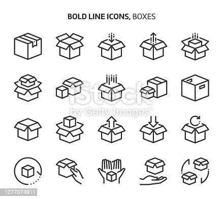 istock Boxes, bold line icons 1277074911