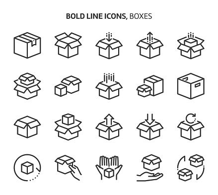 Boxes, bold line icons. The illustrations are a vector, editable stroke, 48x48 pixel perfect files. Crafted with precision and eye for quality.