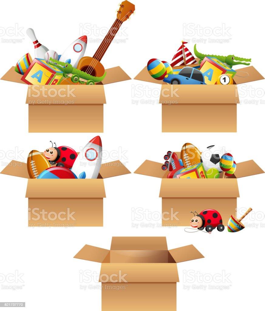 Kisten voll mit Spielzeug – Vektorgrafik