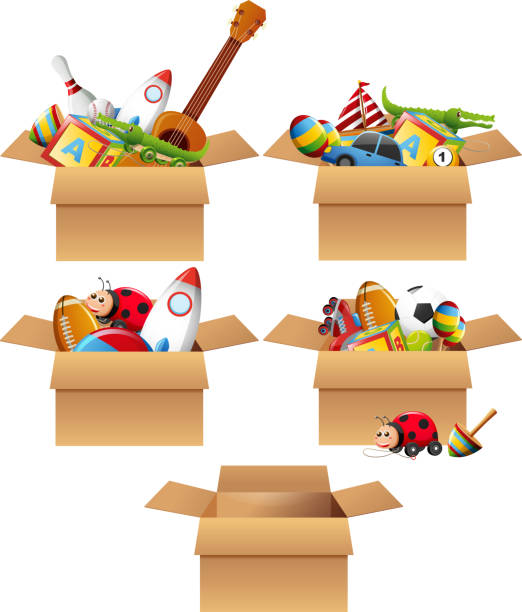 boxes full of toys - zabawka stock illustrations