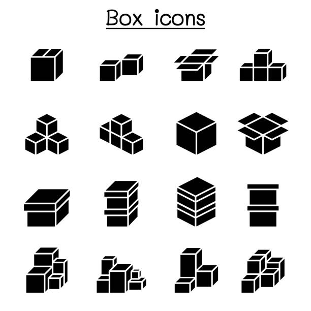 boxen-icon-set - paket stock-grafiken, -clipart, -cartoons und -symbole