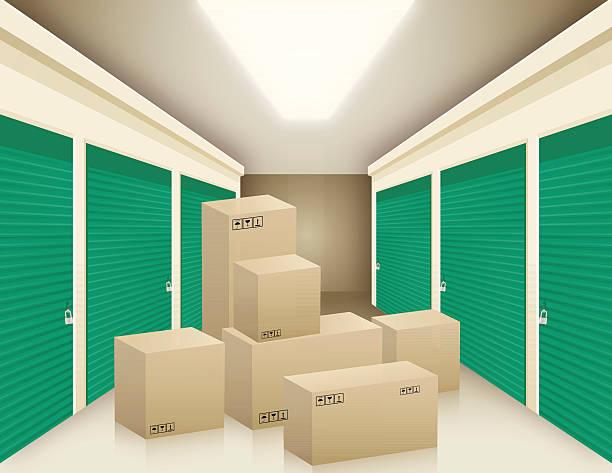 stockillustraties, clipart, cartoons en iconen met boxes in storage - opslagruimte