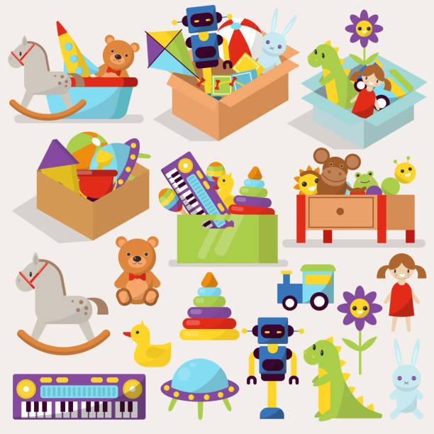 kisten mit kind spielzeug vektor illustration gefüllte blöcke cartoon niedliche grafik spielen kindheit geschenk container - kinderspielzeug stock-grafiken, -clipart, -cartoons und -symbole