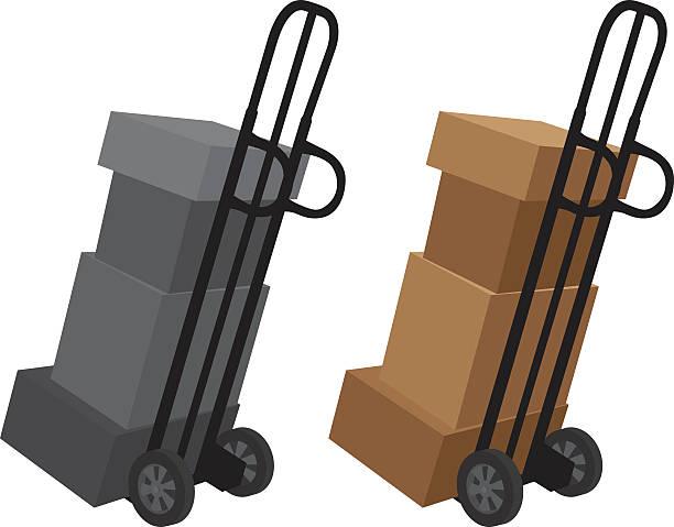 pola z dolly sylwetka - wózek transportowy stock illustrations