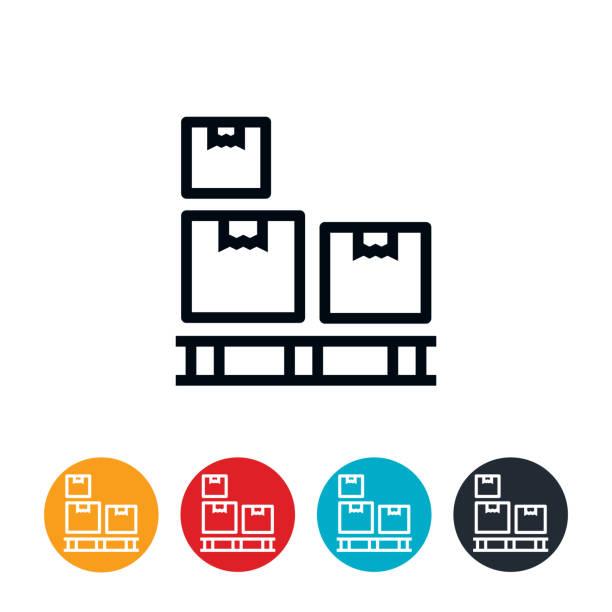 stockillustraties, clipart, cartoons en iconen met vakken op het pictogram van de pallet - pallet