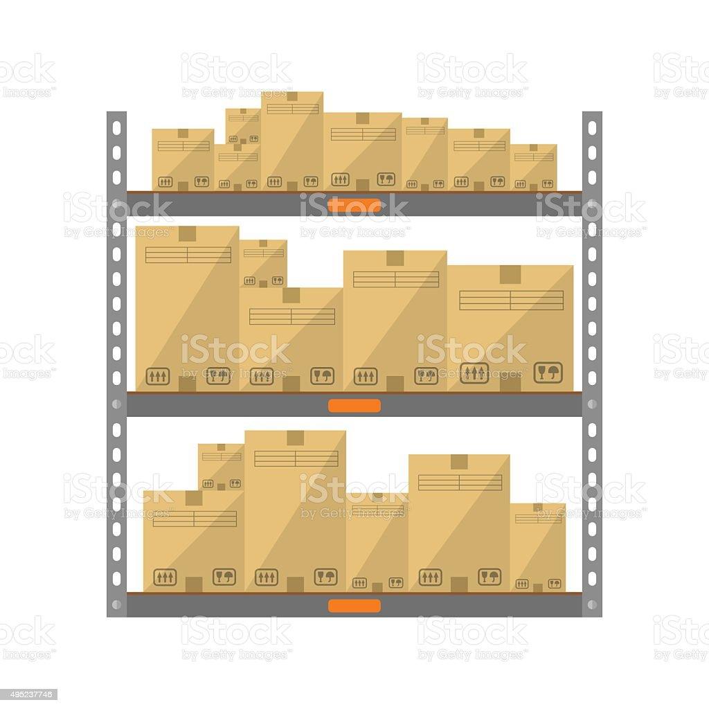 Boxes on the shelves vector art illustration