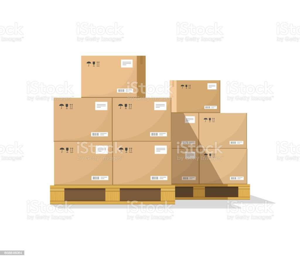 Boîtes de vecteur de palette boisée, boîtes à colis carton plat entrepôt empilent vue de face - Illustration vectorielle
