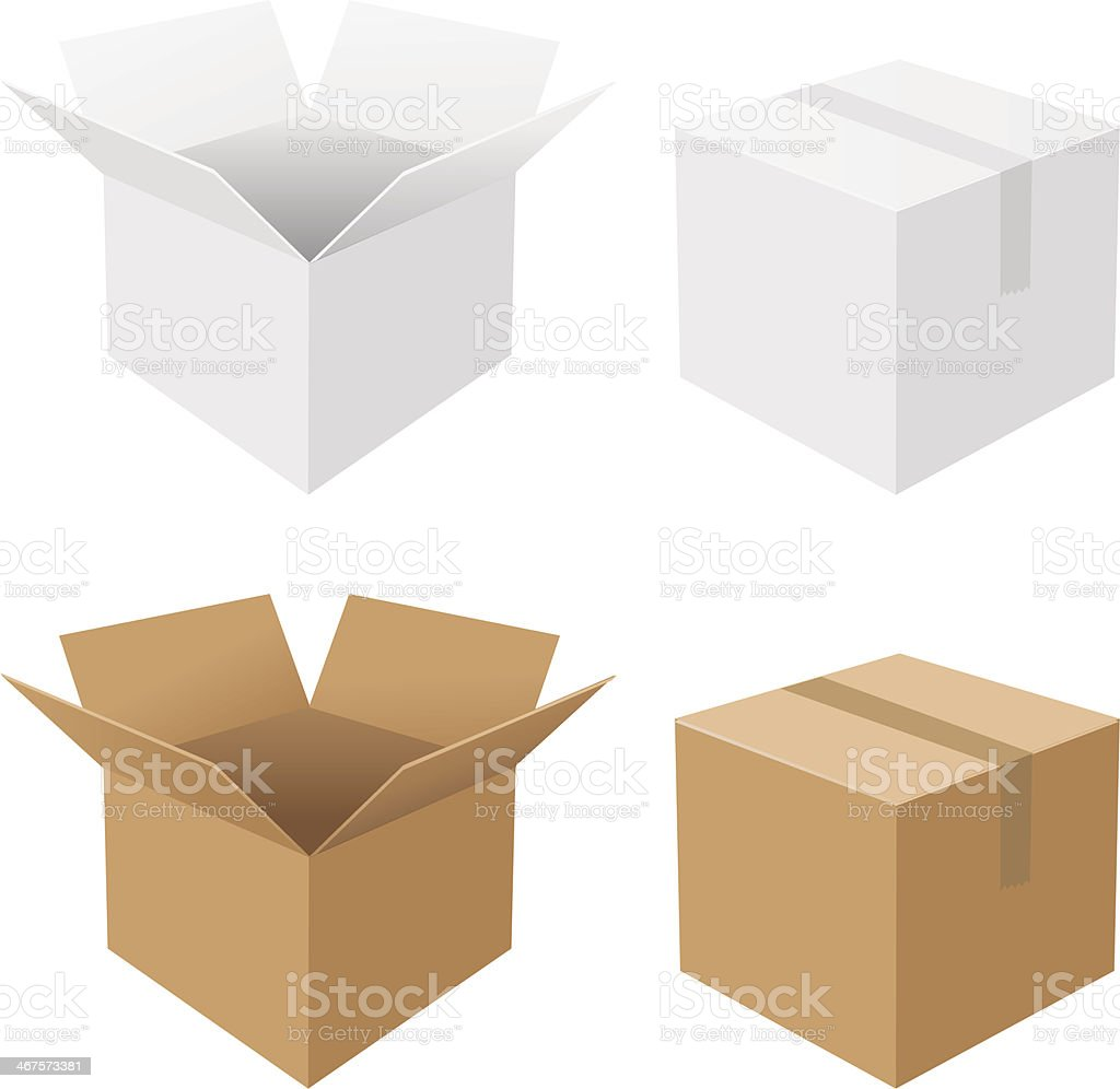 Boxes Set vector art illustration