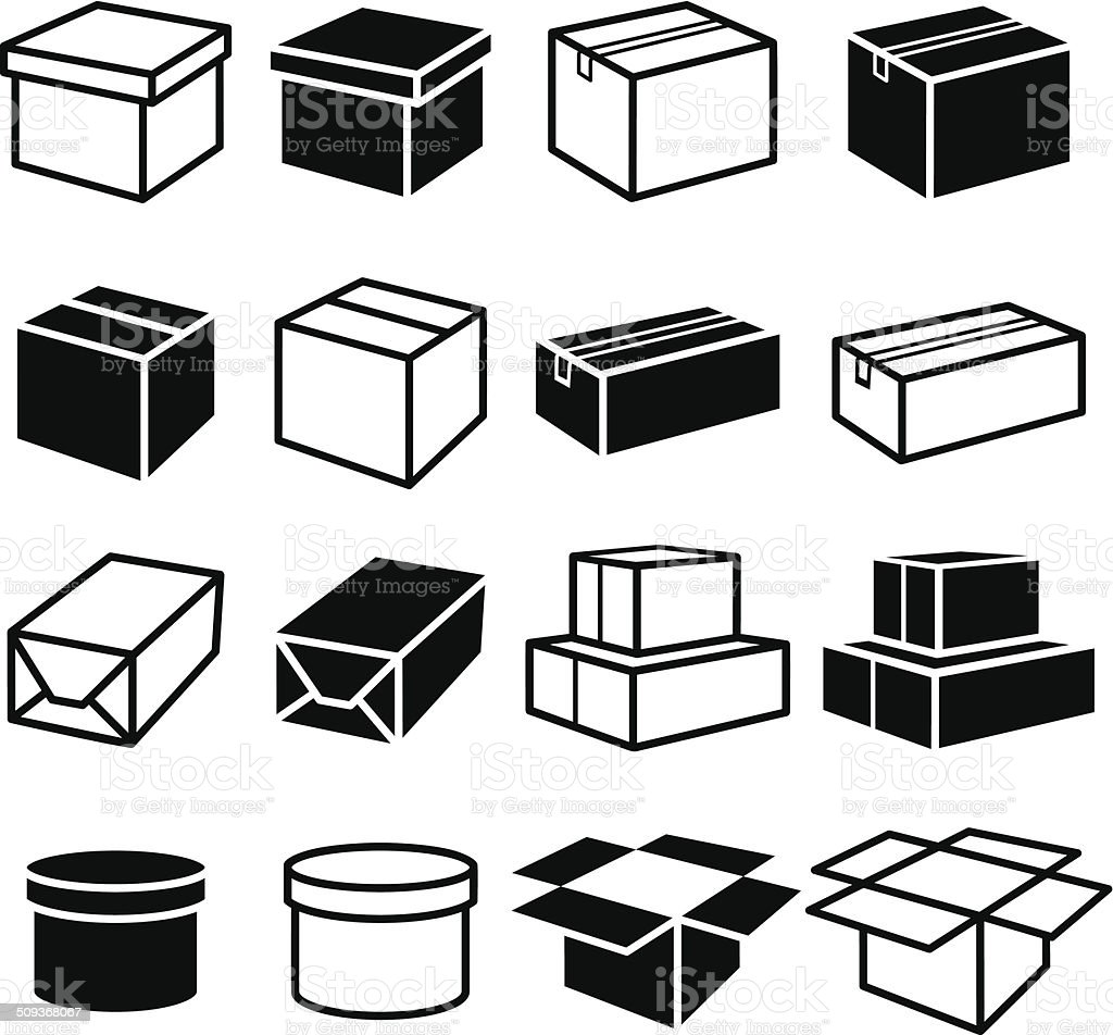 Boxes Set vector art illustration