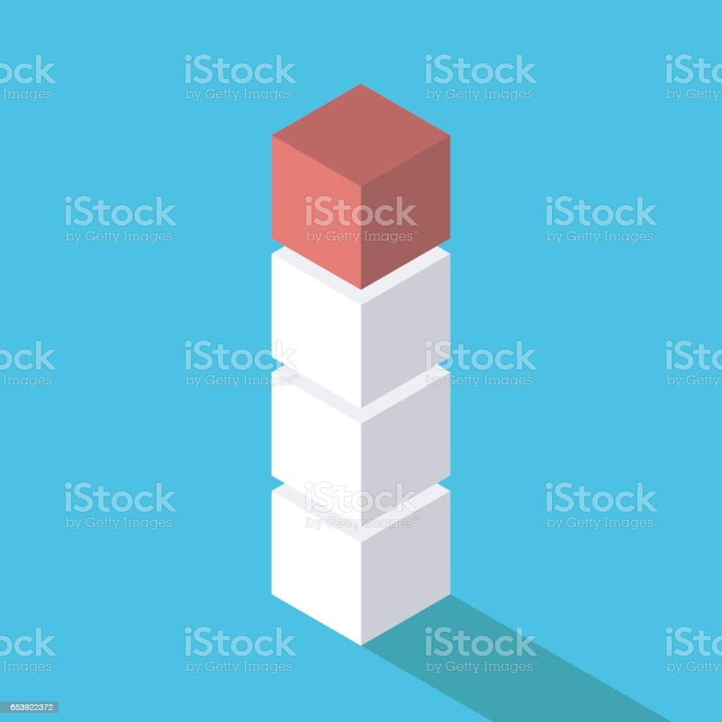 Boxes stacked, unique one vector art illustration
