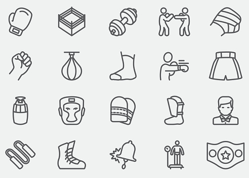 Boxing and fighting Line Icons  EPS10