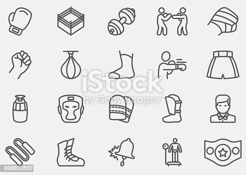 Boxing and fighting Line Icons