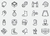 Boxing and fighting Line Icons |EPS10