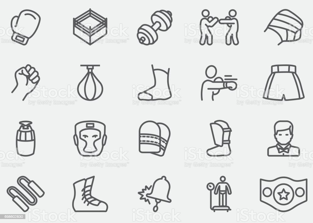 Boxing and fighting Line Icons |EPS10 vector art illustration