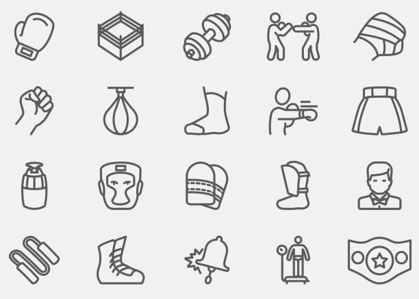 ilustraciones, imágenes clip art, dibujos animados e iconos de stock de boxeo y lucha contra los iconos de línea | eps10 - boxeo deporte