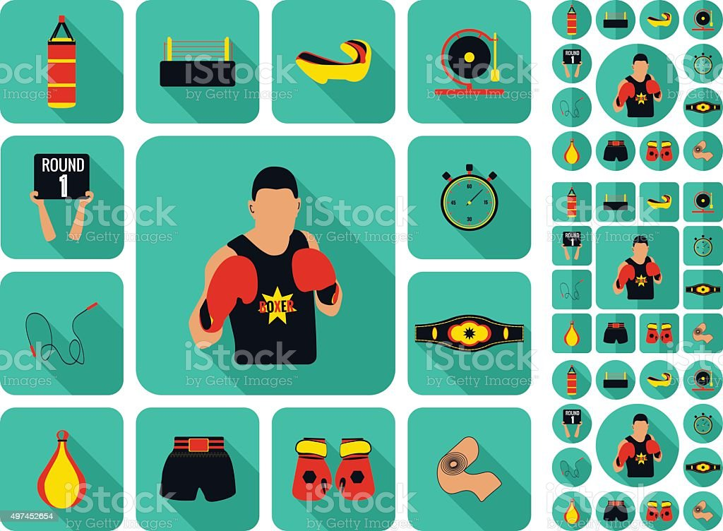 Boxing and martial arts logo badges, labels and design elements. vector art illustration