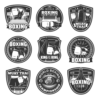 Boxing and muay thai single combats vector icons